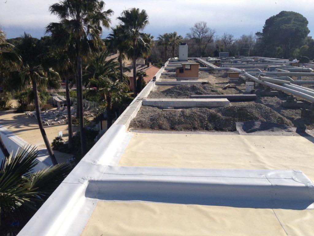 STS Côte d'Azur, nos réalisations, étanchéité toit terrasse membrane PVC protection gravillon - Nice