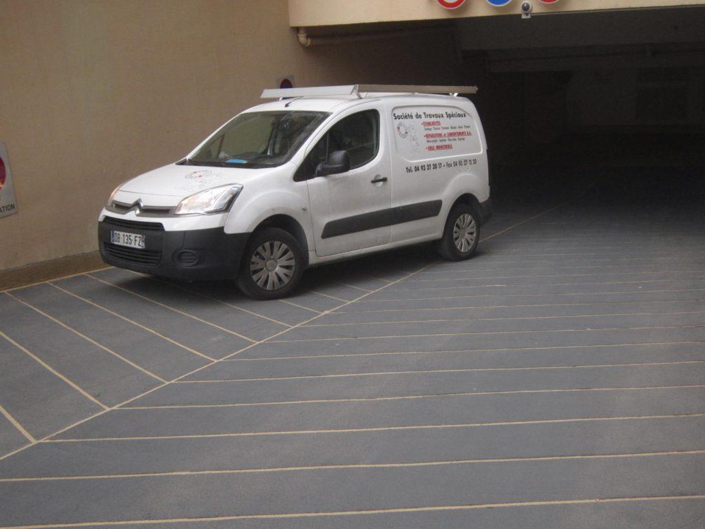 STS Côte d'Azur, nos réalisations, étanchéité résine rampe parking - Beausoleil